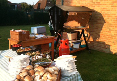 hog roast machine in operation at an event